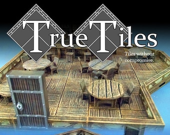 "True Tiles - Tavern Tiles Deluxe Set 75 Tiles! - OpenLock - DND - Pathfinder - Dungeons & Dragons - Terrain - RPG - Tabletop - 28 mm / 1"""
