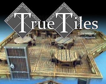 "True Tiles - Tavern Tiles Premium Set 125 Tiles! - OpenLock - DND - Pathfinder - Dungeons & Dragons - Terrain - RPG - Tabletop - 28 mm / 1"""