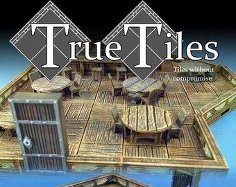 "True Tiles - Tavern Tiles Starter Set 50 Tiles! - OpenLock - DND - Pathfinder - Dungeons & Dragons - Terrain - RPG - Tabletop - 28 mm / 1"""