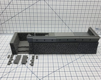 Samurai Castle Walls - DND - Pathfinder - Dungeons & Dragons - Warhammer - Test of Honour - RPG - Tabletop - 28 mm / 1""