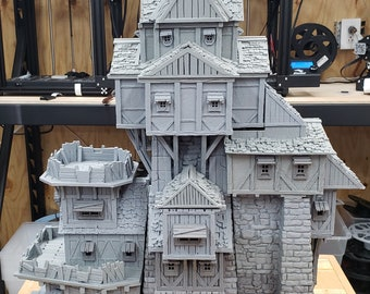 "Iron Wheel Trade Guild Tower - DND - Pathfinder - Dungeons & Dragons - RPG - Tabletop - Terrain - 28 mm / 1"" - Warhammer - Gamescape3d"