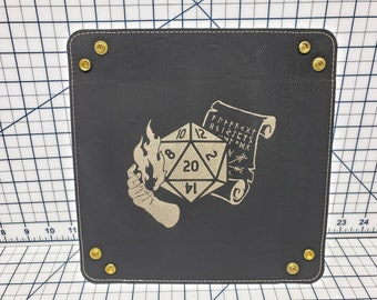Dungeons and Dragons Class Icons with D20 - Multiple Designs - Dice Tray - Leatherette Snap Up Tray - D&D - Dungeons and Dragons - Fantasy