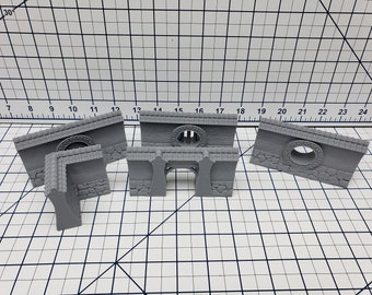 City Walls Straight Sections - Asian Adventures - Samurai - Ronin- DND - Pathfinder - Dungeons & Dragons - Test of Honour - RPG