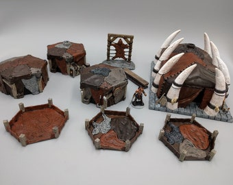 Complete Set of the Hero's Hoard Barbarian Village - DND - Pathfinder - Dungeons & Dragons - RPG - Tabletop - EC3D - Terrain