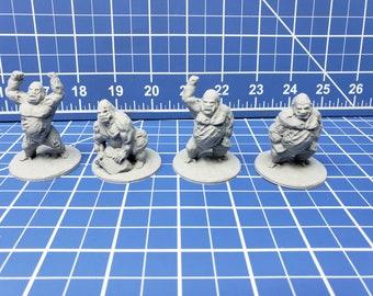 "Set of 4 Undead Gorillas - DND - Pathfinder - RPG - Dungeon & Dragons - Miniature - Mini - 28 mm / 1"" - Fat Dragon Games"