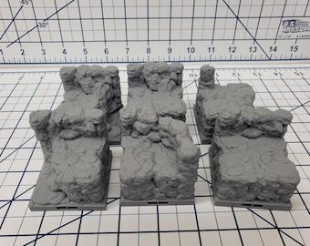 "Caverns - Elevated Wall Tiles- DragonLock - DND - Pathfinder - RPG - Dungeon & Dragons - 28 mm / 1"" - Terrain - Fat Dragon Games"