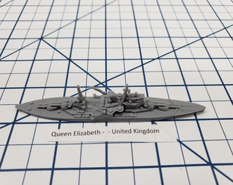 Battleship - HMS Queen Elizabeth - Royal Navy - Wargaming - Axis and Allies - Naval Miniature - Victory at Sea - Tabletop Games - Warships
