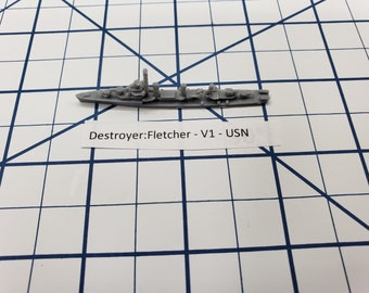 Destroyer - Fletcher Class V1 - USN - Wargaming - Axis and Allies - Naval Miniature - Victory at Sea - Tabletop Games - Warships
