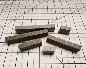Cut Stone Low Wall Tiles - OpenLock or DragonLock - Openforge - DND - Pathfinder - Dungeons & Dragons - RPG - Tabletop - 28 mm / 1""