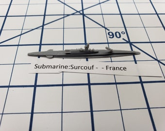 Submarine - Surcouf - French Navy - Wargaming - Axis and Allies - Naval Miniature - Victory at Sea - Tabletop Games - Warships