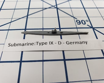 Submarine - Type IX D- German Navy - Wargaming - Axis and Allies - Naval Miniature - Victory at Sea - Tabletop Games - Warships