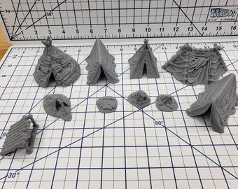 "Tent Set - DND - Pathfinder - RPG - Dungeon & Dragons - Tabletop - Role Playing Games - Scatter Terrain - 28 mm / 1"" - Fat Dragon Games"