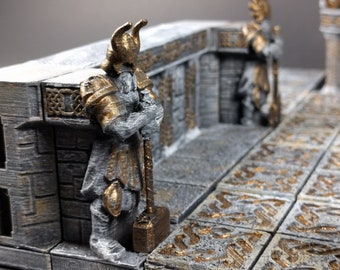 Dwarven Hall Sentinel and Statue - OpenForge - OpenLock - DND - Pathfinder - RPG - Tabletop - Terrain - Dungeons & Dragons