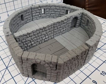 "Castle Style - Castle to Tower Adapters - DragonLock - DND - Pathfinder - RPG - Dungeon & Dragons - 28 mm / 1"" - Terrain - Fat Dragon Games"