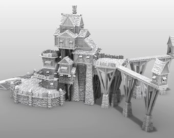 "Guild Tower Air Dock Add On - DND - Pathfinder - Dungeons & Dragons - RPG - Tabletop - Terrain - 28 mm / 1"" - Warhammer - Gamescape3d"