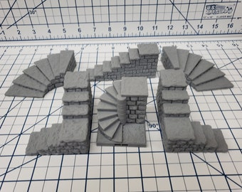 "Dungeon Style - Stairs - DragonLock - DND - Pathfinder - RPG - Dungeon & Dragons - 28 mm / 1"" - Terrain - Fat Dragon Games"