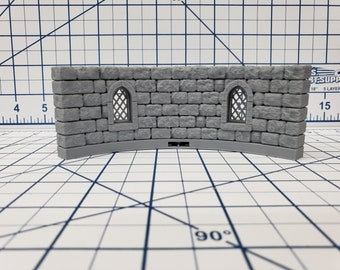 "Castle Style - Round Tower Walls - DragonLock - DND - Pathfinder - RPG - Dungeon & Dragons - 28 mm / 1"" - Terrain - Fat Dragon Games"