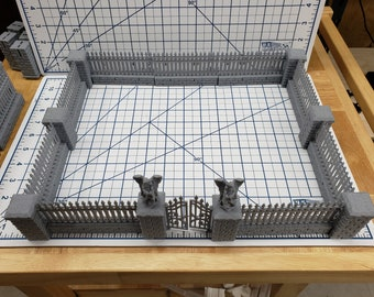 "Cemetery Gate and Walls Set - DragonLock - DND - Pathfinder - RPG - Dungeon & Dragons - 28 mm / 1"" - Fat Dragon Games"