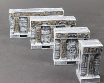 Dwarven Hall Wall Tiles - OpenLock or DragonLock - Openforge - DND - Pathfinder - Dungeons & Dragons - RPG - Tabletop - 28 mm / 1""
