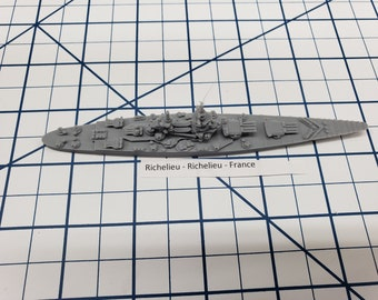 Battleship - Richelieu - French Navy -  Wargaming - Axis and Allies - Naval Miniature - Victory at Sea - Tabletop Games - Warships