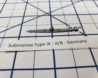 Submarine - Type IX A/B- German Navy - Wargaming - Axis and Allies - Naval Miniature - Victory at Sea - Tabletop Games - Warships