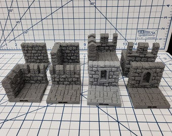"Castle Style - Walls - DragonLock - DND - Pathfinder - RPG - Dungeon & Dragons - 28 mm / 1"" - Terrain - Fat Dragon Games"