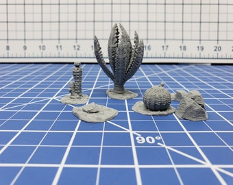 Desert Plants Set - Desert Adventures - DND - Pathfinder - Dungeons & Dragons - D20 - 28 mm Scale - RPG - Terrain