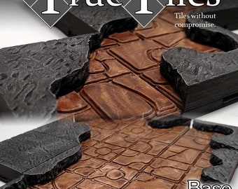 "True Tiles - Cavern Tiles Starter Set 50 Tiles! - OpenLock - DND - Pathfinder - Dungeons & Dragons - Terrain - RPG - Tabletop - 28 mm / 1"""