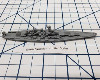 Battleship - USS North Carolina BB-55 - US Navy - Wargaming - Axis and Allies - Naval Miniature - Victory at Sea - Tabletop Games - Warships
