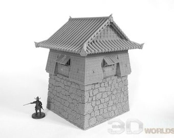Samurai Castle Corner Tower - DND - Pathfinder - Dungeons & Dragons - Warhammer - Test of Honour - RPG - Tabletop - 28 mm / 1""