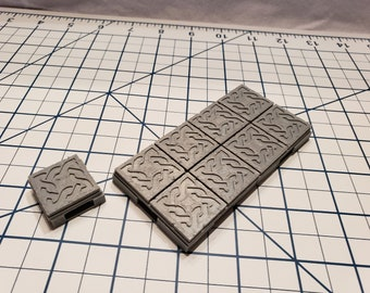 Dwarven Hall Floor Tiles - OpenLock or DragonLock - Openforge - DND - Pathfinder - Dungeons & Dragons - RPG - Tabletop - 28 mm / 1""