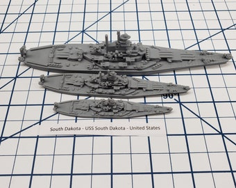 Battleship - South Dakota - US Navy - Wargaming - Axis and Allies - Naval Miniature - Victory at Sea - Tabletop Games - Warships