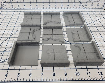 "Water Wall Tiles - EC3D - DND - Pathfinder - Dungeons & Dragons - RPG - Tabletop - 28 mm / 1"" - True Tiles"