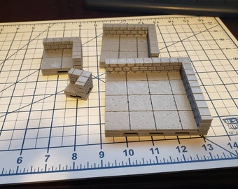 Cut Stone Corner Low Wall Tiles - OpenForge  - OpenLock - DND - Pathfinder - Dungeons & Dragons - RPG - Tabletop - Terrain