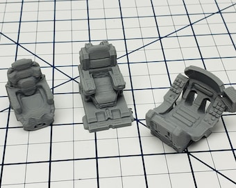Starship Chairs - Set of 3 - Ignis Quadrant - Starfinder - Cyberpunk - Science Fiction - Syfy - RPG - Tabletop - EC3D - Scatter - Terrain