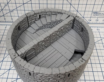 "Castle Style - Round Tower Floors - DragonLock - DND - Pathfinder - RPG - Dungeon & Dragons - 28 mm / 1"" - Terrain - Fat Dragon Games"