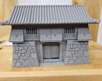 "Samurai Gate Tower - DND - Pathfinder - Dungeons & Dragons - Warhammer - Test of Honour - RPG - Tabletop - 28 mm / 1"""
