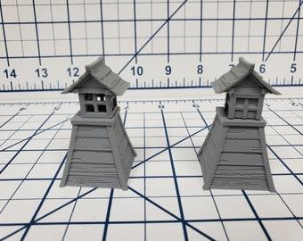 """Samurai - Set of 4 Lanterns - DND - Pathfinder - Dungeons & Dragons - Warhammer - Test of Honour - RPG - Tabletop - 28 mm / 1"""""""