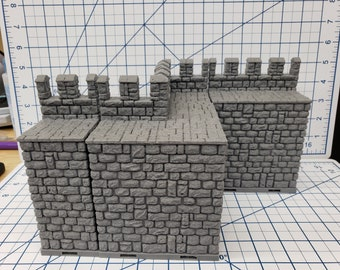"Castle Style - Outer Walls - DragonLock - DND - Pathfinder - RPG - Dungeon & Dragons - 28 mm / 1"" - Terrain - Fat Dragon Games"