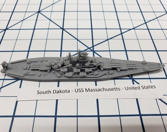 Battleship - Massachusetts - US Navy - Wargaming - Axis and Allies - Naval Miniature - Victory at Sea - Tabletop Games - Warships