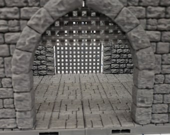 "Castle Style - Gatehouse Tiles- DragonLock - DND - Pathfinder - RPG - Dungeon & Dragons - 28 mm / 1"" - Terrain - Fat Dragon Games"