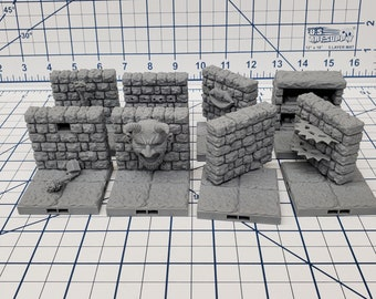 "Dungeon Style - Special Walls - DragonLock - DND - Pathfinder - RPG - Dungeon & Dragons - 28 mm / 1"" - Terrain - Fat Dragon Games"
