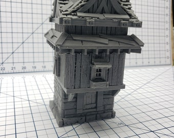 "2 Story House - A2 - DND - Pathfinder - Dungeons & Dragons - RPG - Tabletop - Terrain - 28 mm / 1"" - Warhammer - Gamescape3d"
