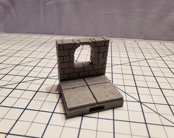 """Cut Stone Arched Window Tiles - OpenLock or DragonLock - Openforge - DND - Pathfinder - Dungeons & Dragons - RPG - Tabletop - 28 mm / 1"""""""