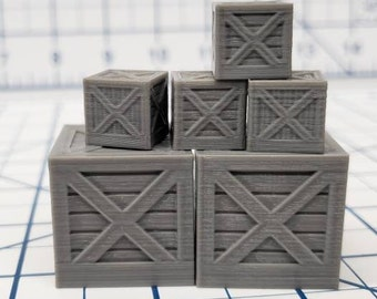 Set of Crates - Hero's Hoard - DND - Pathfinder - Dungeons & Dragons - RPG - Tabletop - EC3D - Terrain - Map Scatter