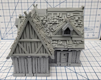 "L Shaped House - DND - Pathfinder - Dungeons & Dragons - RPG - Tabletop - Terrain - 28 mm / 1"" - Warhammer - Gamescape3d"