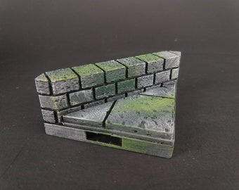Cut Stone Diagonal Low Wall Tiles - OpenLock or DragonLock - Openforge - DND - Pathfinder - Dungeons & Dragons - RPG - Tabletop - 28 mm / 1""