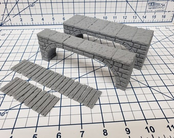 "Dungeon Stone - Free Standing Bridges - Fat Dragon Games - DND - Pathfinder - RPG - Terrain - 28 mm / 1"" - Dungeon & Dragons - Warhammer"
