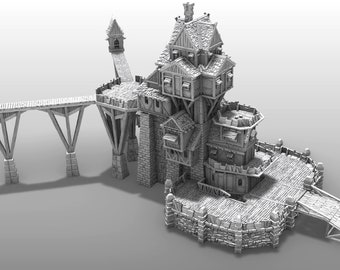 "Guild Tower Pavilion Add On - DND - Pathfinder - Dungeons & Dragons - RPG - Tabletop - Terrain - 28 mm / 1"" - Warhammer - Gamescape3d"