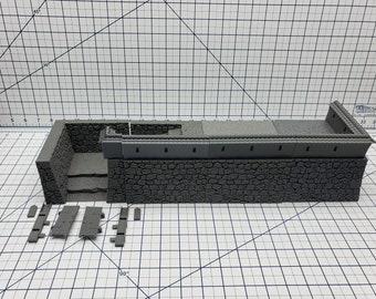 "Samurai Castle Walls - DND - Pathfinder - Dungeons & Dragons - Warhammer - Test of Honour - RPG - Tabletop - 28 mm / 1"""